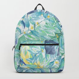 Modern teal green yellow watercolor tropical leaves Backpack