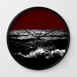 Black Wave w/Dark Red Horizon Wall Clock