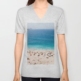 Beach, Coastal, Ocean, Sea, Water, Nature, Modern, Minimal, Interior, Wall art Unisex V-Neck