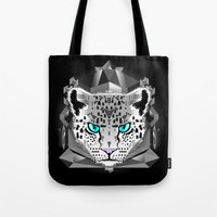 snow leopard Tote Bags featuring Snow Leopard by chobopop