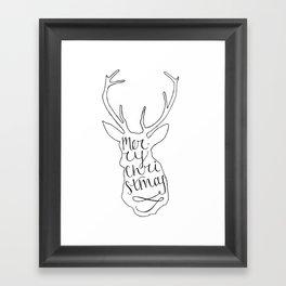 Merry Christmas Deer (2) Framed Art Print
