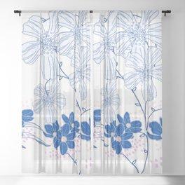 Blue & White love Sheer Curtain