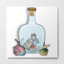 Merman Trapped In A Bottle Metal Print