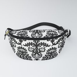 Floral Pattern Black & White Fanny Pack