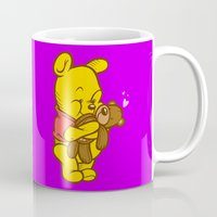 pooh Mugs featuring Pooh And Teddy by Artistic Dyslexia