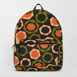 Geometric Pattern 161 (orange hexagons) Backpack