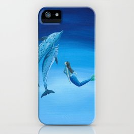 Mermaid & Dolphin - No. 3 iPhone Case