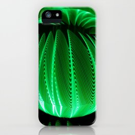 Green waves in glass ball iPhone Case