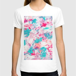 Modern bright candy pink turquoise pastel brushstrokes acrylic paint T-shirt