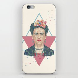 Pastel Frida - Geometric Portrait with Triangles iPhone Skin