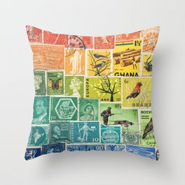 Rainbow Postage Stamp Art - Multicolour Collage of Postal History Throw Pillow