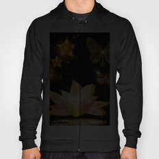 Gold Butterflies and Stars at Night Fantasy Hoody