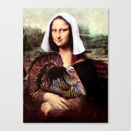 Mona Lisa Thanksgiving Pilgrim Canvas Print