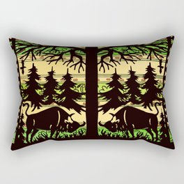 Storks and Bison Tree Of Life Rectangular Pillow