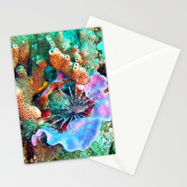 Coral and Lionfish, Underwater photo by John Schwalbe Stationery Cards