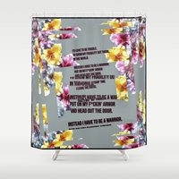 warrior Shower Curtains featuring warrior by gasponce