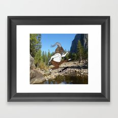 Baphomet's sixth failed attempt over a creek in Yosemite, which resulted in him focusing his board. Framed Art Print
