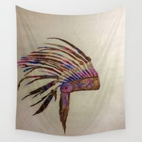 native american Wall Tapestries featuring Native  by Emily Bingham
