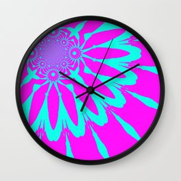 The Modern Flower Fushia & Turquoise Wall Clock