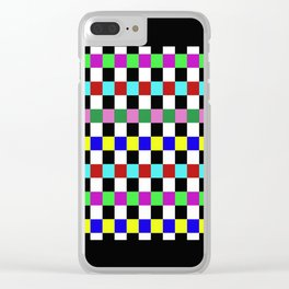 Retro 3 - Abstract, multicoloured, bold, chekkered, checkered pattern Clear iPhone Case
