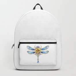 Mechanical Dragonfly on White Background ( Steampunk ) Backpack