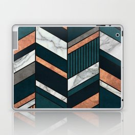 Abstract Chevron Pattern - Copper, Marble, and Blue Concrete Laptop & iPad Skin