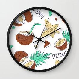 Coconut Pattern Coconuts Summer Wall Clock