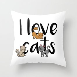I love cats Cat Kitty Kittens Meow Tabby Kitten Throw Pillow