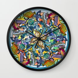 Mandala Fish Pool Wall Clock