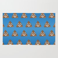 poop Area & Throw Rugs featuring Smiley Poop by Bryan Vogel