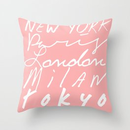 Fashion Capitals of the World - Coral Throw Pillow