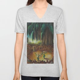 Harlem Renaissance African American 'Performance Under the Banyan Tree' by Miguel Covarrubias Unisex V-Neck
