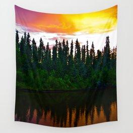 Summer Sun Almost Sets in Alaska Wall Tapestry