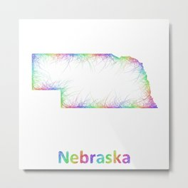 Rainbow Nebraska map Metal Print