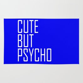 Cute But Psycho - Blue and White Rug