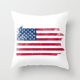 Pennsylvania State Map American Flag Vintage Throw Pillow