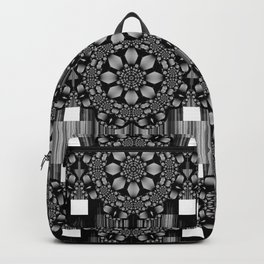 metallic geometric mandala with flower and spirals Backpack