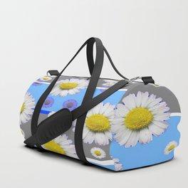 DECORATIVE BLUE MODERN ART WHITE SHASTA DAISIES Duffle Bag