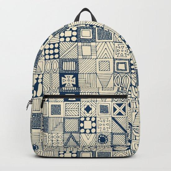 wolf geo blue ivory Backpack