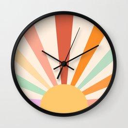 Boho Sun Colorful Wall Clock