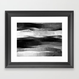 Glowing Smoky Abstract - Black and White Framed Art Print