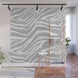 ZEBRA GRAY AND WHITE ANIMAL PRINT Wall Mural