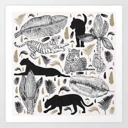 Wild Cats and Botanicals Art Print