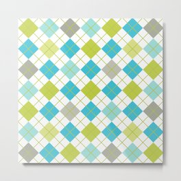 Retro 1980s Argyle Geometric Pattern in Modern Bright Colors Blue Green and Gray Metal Print