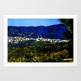 Calabria landscape with Catanzaro city and Sila mountain Art Print