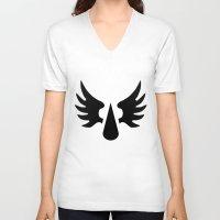 warhammer V-neck T-shirts featuring Warhammer 40k Blood Angels Minimalist Poster by Milos Cakovan