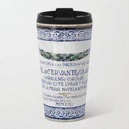 Cervantes Homage in Cordoba Travel Mug