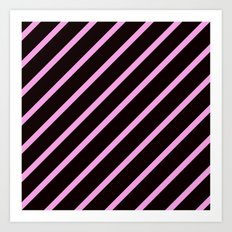 Pink & Black Stripes Art Print