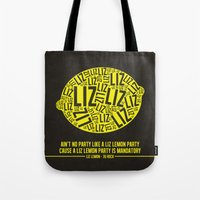 30 rock Tote Bags featuring 30 rock - liz lemon by lissalaine