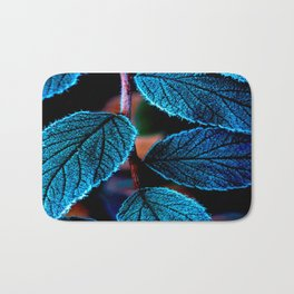 Peacock Blue Leaves Nature Background #decor #society6 #buyart Bath Mat